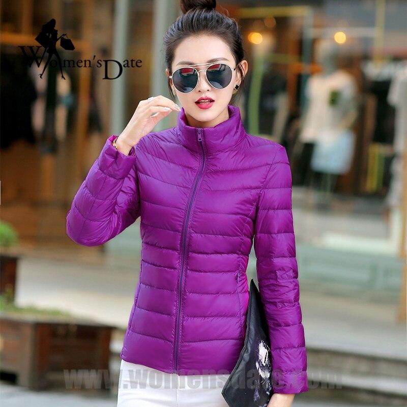 WomensDate 2017 New Arrival Winter Women 90% White Duck Down Jacket Slim Short Coat Plus Size Duck Down Purple Jackets ParkaÎäåæäà è àêñåññóàðû<br><br>