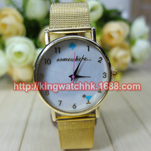DHL free, 100pcs/lot, Newest Mother of Pearl Dial Watch Somewhere Watches for ladies Women Quart Stell Belt Quartz Watch(China)