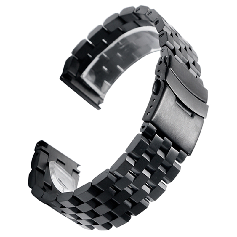 High Quality 2022mm SilverBlack Bracelet Men Women Watch Band Strap Cool Replacement Solid Link Stainless Steel Watchstrap 2017 Luxury (13)