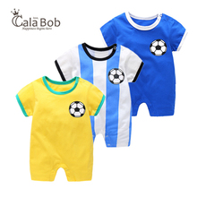 CalaBob Summer Baby Boy Romper Short Sleeve Newborn Baby Boy Clothes Cotton Jumpsuit Baby Football Rompers Soccer Overalls(China)