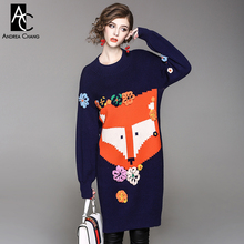 autumn winter woman dress 3d flower applique orange cartoon fox pattern knitted dress rabbit fur nylon cute plus size blue dress