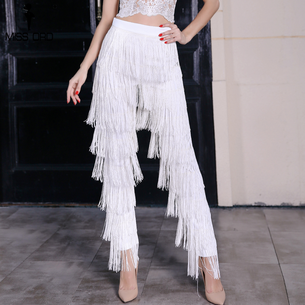Missord 2019 Fashion high waist tassel zip  pants FT4799