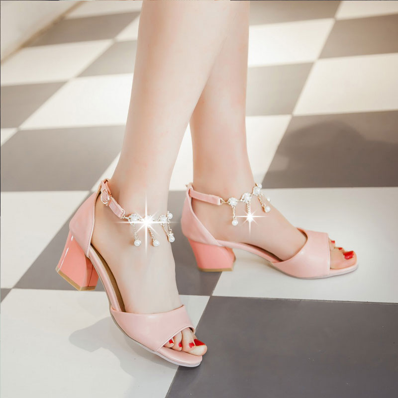 Summer New Arrival Womens Fashion Open Toe Thick Heel Sandals High Heel Plus Size 33-43 Bridesmaid Wedding Shoes Gladiator P991<br><br>Aliexpress