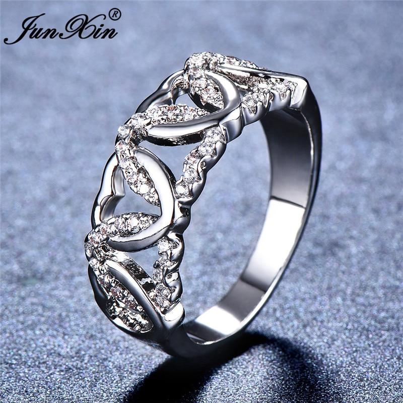 2018 Junxin Luxury Male Female Heart Engagement Ring Fashion Finger