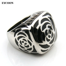 LYCOON Fashion woman jewelry Enamel ring 316L stainless steel and black Imported resin women rings never fade change color(China)