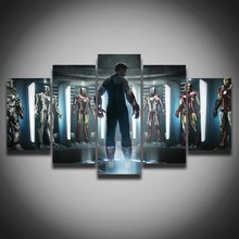 Movie Posters Marvel Iron Man Picture Painting On Canvas 5 Panels For Children's Room Wall Decor Home Decoration Canvas Art(China)