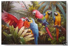 "100% hand painted Handicrafts Repro oil painting:""parrot In canvas"" 24x36(China)"