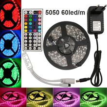 rgb Strip rgb led strip light led tape 4m 5m SMD 5050 tiras led dc 12V Power adapter 44keys controller Ribbon Lighting kit EU US