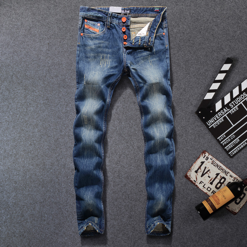 DSEL Brand Men Jeans Blue Color Denim Stripe Jeans Buttons Casual Pants Fashion High Street Biker Jeans Retro Design Jeans MenОдежда и ак�е��уары<br><br><br>Aliexpress