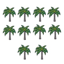 10 pcs coconut trees patches badges for clothing iron embroidered patch applique iron on patches sewing accessories for clothes