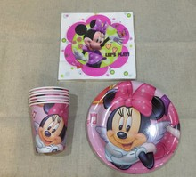 60pcs/ New Minnie Mouse Theme Party Luxury kids birthday decoration plates cups tablecover napkins party supplies