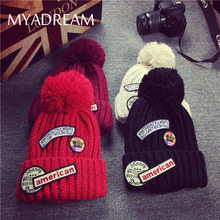 MYADREAM Retro USA Cloth Tag Patchwork Beanie Warm Wool Knitted Hats for Women Girls Hats with Wool Pompom Cap Casquette Homme