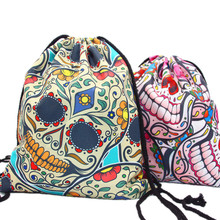 ROSEHOME Travel Drawstring Storage Bag Cool Skull 3D Printed Drawstring Backpack Foldable Clothing Shoes Oxford Bag Home Storage(China)