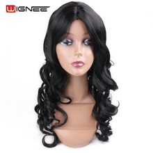 Long Wave Pure Color Natural Black Synthetic Wigs And Hairpieces Perruque Cosplay Highlights Hairstyles For Female Hair Cuts