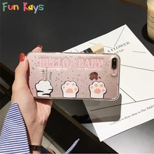 Fun Kays Hello Baby Cute Cat Claw Bling Phone Case Fashion Back Cover Transparent Phone Shell Letter Cover(China)