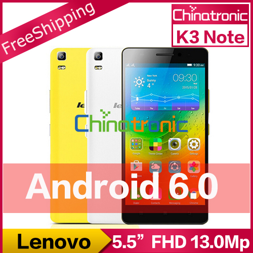 "In Stock Gift New Original Lenovo K3 Note K50 Android 6.0 Mobile Phone MTK6752 Octa Core Dual SIM 4G FDD LTE 5.5""FHD 2G RAM 13MP(China (Mainland))"