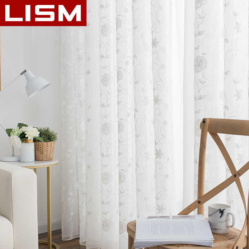 White Linen Voile Curtains Embroidered Sheer Window Curtains Tulle for Bedroom Living Room Kitchen Voile Curtains for Window