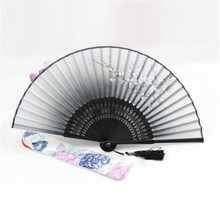 2017 Chinese Folding Hand Fan Silk Bamboo Flower Butterfly Pocket Fan P66