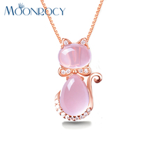 MOONROCY Free Shipping Rose Gold Color Cute Cat Ross Quartz Pink Opal Jewelry Necklace for Women Girls Children Gift Choker
