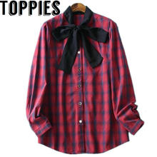 2017 Women Autumn New Red Plaid Blouse Black Bow Ties Korean Style Shirt Cotton Tops for Women Checker Tops(China)