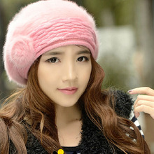 pink rabbit fur gorros e toucas feminina promotion new style teenager bere 2015 winter warm women hat 11.11 promotion bone