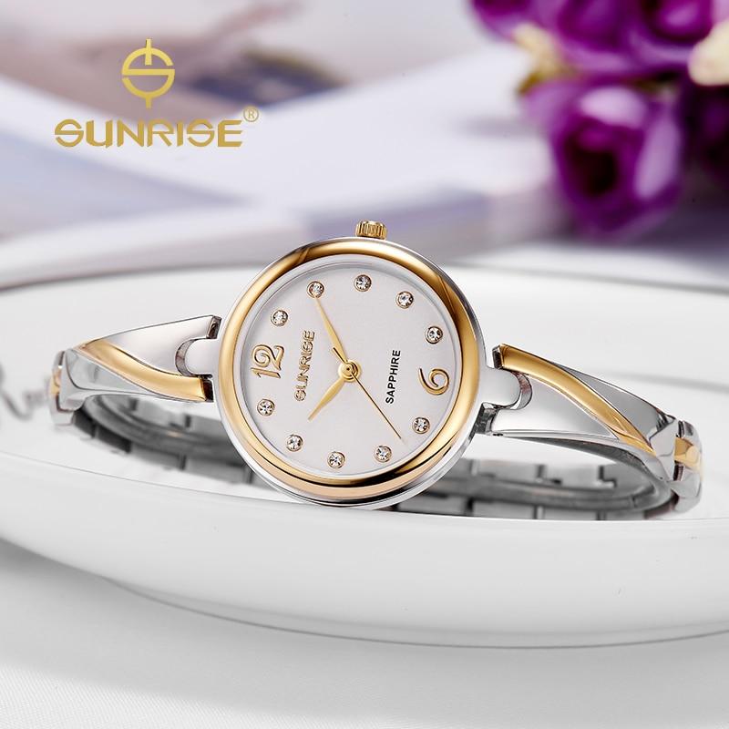 SUNRISE Fashion Women Quartz Dress Watch Ladies Gold Watches Diamond oyster Bracelet Wristwatch moda mujer datejust SL711<br><br>Aliexpress