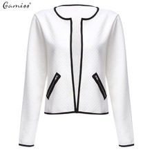 Gamiss Fashion Autumn Women Basic Jacket Long Sleeve Zipper Pockets Slim Short Cardigan Coat Casual Outwear chaquetas mujer