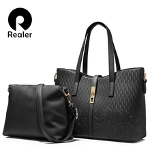 REALER brand fashion women handbag high quality imitation leather floral embossed tote bag female shoulder messenger bags