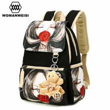 Canvas Printing Bagpack Fashion Design Beauty Student School Bag For Teenage Girl Women Backpack Brand Mochila Feminina 2017 Tas