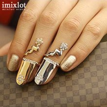 Imixlot Gold Silver Rhinestone Flower Crystal Open Nail Finger Rings Female Personality Fake Nail Art Rings Fashion Jewelry