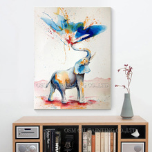 Skilled Artist Hand-painted High Quality Modern Abstract Funny Elephant Oil Painting on Canvas Spray Water Elephant Art Painting(China)