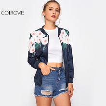 COLROVIE Floral Casual Bomber Jacket Women Navy Zip Up Ribbed Trim Sweet Short Coat 2017 Stand Collar Ladies Cute Autumn Jacket(China)