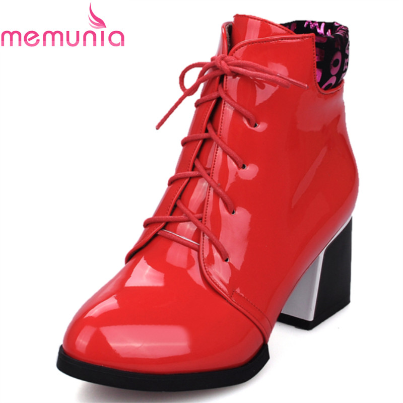 plus size 33-43 2017 autumn winter fashion women boots med heel pointed toe lace up high quality leisure ankle boots<br><br>Aliexpress