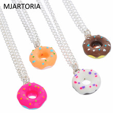 MJARTORIA 4PCs Adjustable Donuts Handmade Resin Charm Pendants Necklaces For Women Cute Paint Pink Donut Jewelry(China)