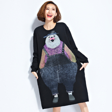 Big Size Dress for Women Autumn Winter Fashion Cute Cartoon Bear 3D Print Casual Long Sleeve Wide Waist Female Oversized Dresses