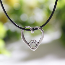 Antique Silver Heart Dog Paw Print Necklaces & Pendants Paw Print Pendant Women Chocker Charm Chocker Christmas Gift Lead Free