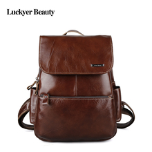 LUCKYER BEAUTY Brand Women Backpack School Bags Crazy Horse Leather Rucksack for Teenager Fashion Casual Ladies Travel Bag(China)