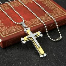 Bling-World New Arrival Fashion Elegant Man Women No Rhinestone cross Pendant Necklaces Delicate Jewelry Charm Gift Sep19(China)