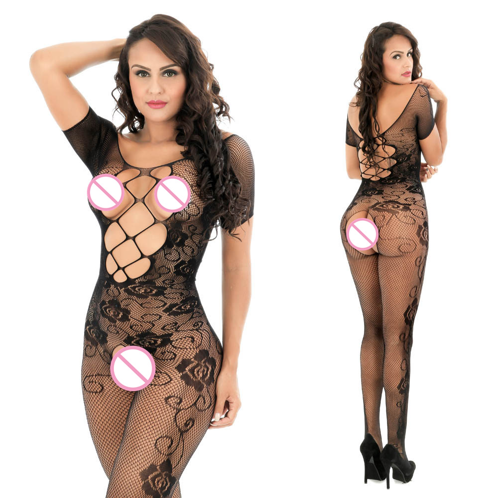 Womens Erotic Underwear Ladies Lingerie Women Open Crotch Bodystockings Perspective Print Underwear Fishnet Pajama #32(China)