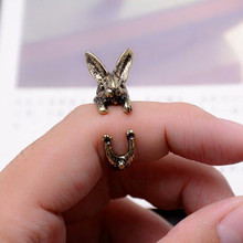 SHUANGR Real Picture Vintage Fashion Bunny Ring Hippie Mid Finger Rabbit Ring Punk Chic Animal Warp Rings For Men Women Jewelry