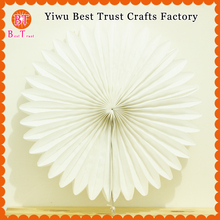 "Free Shipping 6 pcs 30cm 12"" white color Paper Fan Wholesale/Retai Tissue Paper Fan Crafts Party Wedding Home Decorations"