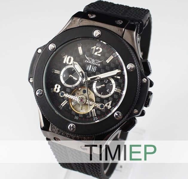 New! TOURBILLON Automatic Mechanical Luxury Black Silver Steel Mens Wrist Watch freeship<br>