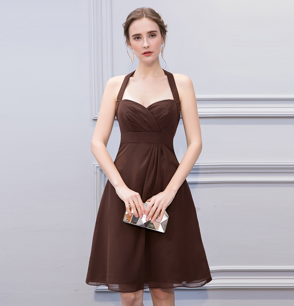 BeryLove Simple Brown Knee Length Short Bridesmaid Dresses Halter Backless Bridesmaid Gowns Chiffon Plus Wedding Party Dresses 5