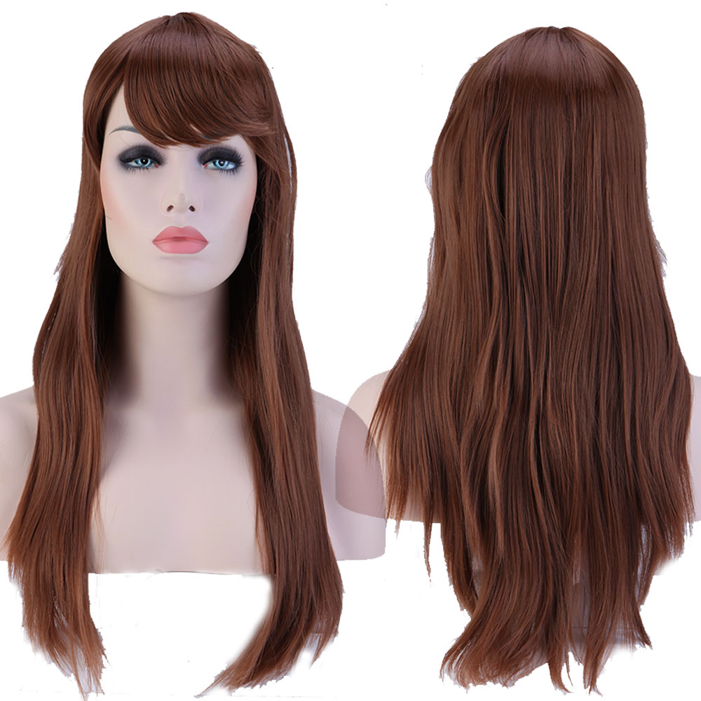 Women Girl Fashion Fringe Bangs 23 Inches Long Straight Full Wig Hair light Brown<br><br>Aliexpress