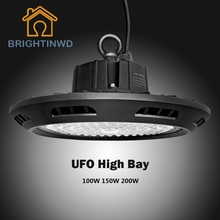BRIGHTINWD 10pcs UFO High Bay 100-265V 100W 150W 200W LED Flood Light SMD3030 Garage Light Industrial Led Lamp Warm Cold White