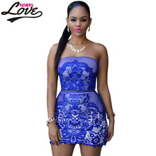 Dearlove vintage retro short casual party autumn winter dress Royal Blue Strapless Mesh And Placed Lace print Mini Dress LC22762