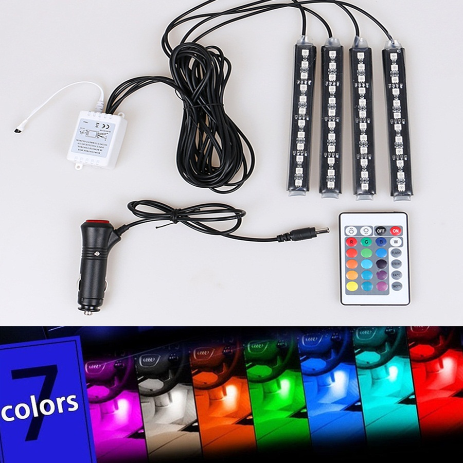 12V 6W Car-styling 4*12 LED Decorative Mood Foot Light Colorful Car Charge Interior Accessories Atmosphere DRL Wireless Remote<br><br>Aliexpress