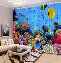 Photo Customize size 3D Natural Beautiful 3d curtains Aquarium coral turtle sea starfish modern living room curtains(China)