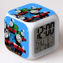 Thomas & Friends Alarm Clocks Cartoon Thomas Train Digital Alarm Clock kids toys Color changing Multifunction night light clock