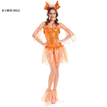 Kimring Sexy Goldfish Costume for Women Adult Fantasia Mermaid Masquerade Party Halloween Costumes Fancy Dress Clothing(China)
